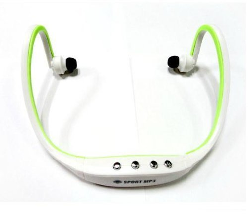 Sunnice® New Wireless Sport Head Loop Stereo Water Resistant Earphone Headphones Handsfree Music Earbud Headset Neckband Headphone Music Mp3 Player Tf Card Sd Card Slot Fm Radio Headset (White And Green)