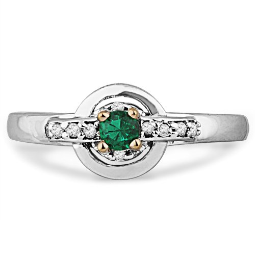 Platinum Plated Sterling Silver Lab Created Green Emerald and Round Diamond Promise Ring (1/5 Cttw) (7.5)