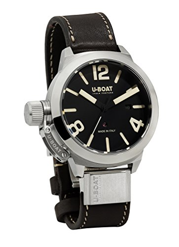 U-Boat Classico 53 AS 1 Shiny Bezel Men's Automatic Watch with Black Dial Analogue Display and Brown Leather Strap 7120.0