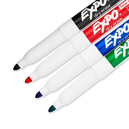Expo 2 Low-Odor Dry Erase Markers, Fine Point, 4-Pack, Assorted Colors