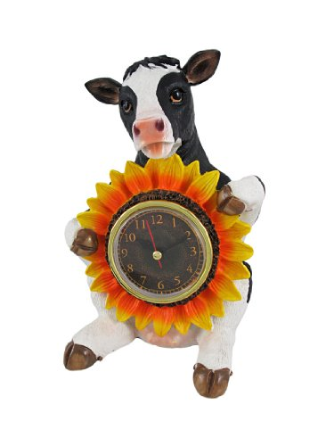 `Chronos Moo` Tabletop Holstein Cow and Sunflower Clock