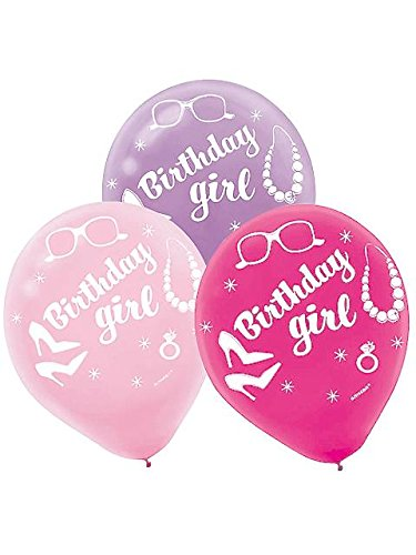 "Amscan Doll Birthday Celebration Party Printed Latex Balloons, 12"", Lavender/White/Baby Pink/Magenta"