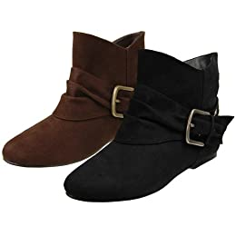Women&#039;s Journee Collection Side Buckle Embellished Boots from target.com