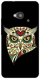The Racoon Lean angry owl hard plastic printed back case for HTC One 802D