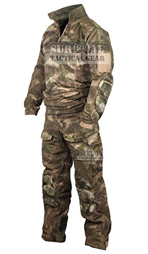 Tactical Military Uniform Paintball Airsoft Hunting Army Camo Apparel Shirt and Pants with Elbow Knee Pads Combat Clothing (A-TACS AU, 38) (Camo Shirt And Pants compare prices)