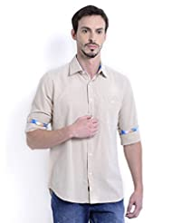 Sting Cream Solid Slim Fit Full Sleeve Cotton Casual Shirt For Men
