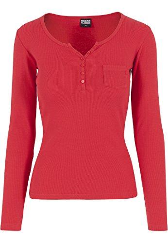 Urban Classics - Rib Pocket Long Sleeve Tee, T-shirt Donna, Rosso (Fire Red), Medium (Taglia Produttore: Medium)