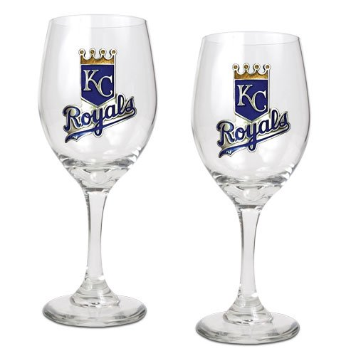 BSS - Kansas City Royals MLB 2pc Wine Glass Set - Primary Logo at Amazon.com