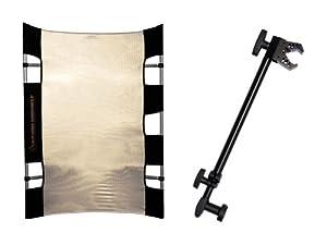 Sunbouncer Micro-Mini Traveller Flash Kit Zebra inkl. Flash Bracket gold/silber - Rückseite weiß (nahtlos)