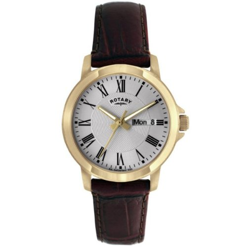 Rotary Timepieces Men's Quartz Watch with Silver Dial Analogue Display and Brown Leather Strap GS02822/21