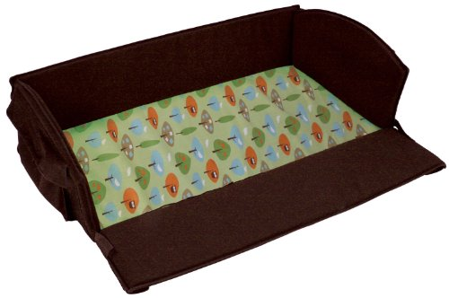 Leachco Roam 'N Holiday 4 in 1 Anywhere Bed, Brown with Green Forest Frolics Sheet