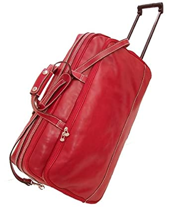 Floto Large Milano Trolley Tuscan Red Leather Wheeled Luggage