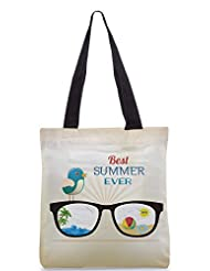 Snoogg Summer Vector Illustration With Glasses Bird Rays Ball Water Palm Tree Sun Designer Poly Canvas Tote Bag