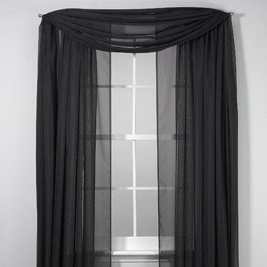 Elegance Sheer Voile Black 216 Inch Scarf front-870146