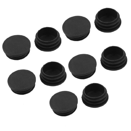 10 X Black Plastic 38Mm Dia Round Tubing Tube Insert Caps Covers front-956547