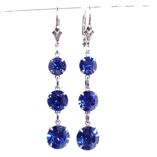 Dazzling chic Sapphire Blue Swarovski crystal 3 drop earrings on Sterling Silver lever backs with Gift Box. Made in England. Beautiful jewellery for very special people.