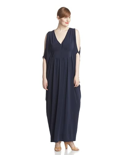 Melissa Masse Plus Women's Cold-Shoulder Maxi Dress  [Navy]