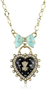 "Betsey Johnson ""Rose Garden"" Polka Dot Heart and Bow Pendant Necklace"