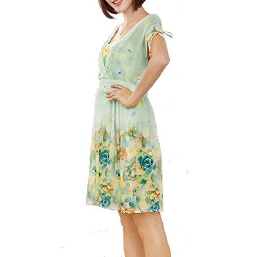 Knee-Length Dress Plus Size Chiffon V-Neck Elastic Waist One-Piece Size5Xl Green