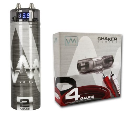 Vm Audio Srpk4R 4 Gauge Ga Car Amplifier Amp Wiring Kit+ 2 Farad Power Capacitor