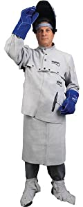 MCR Safety 38100MWXXL Memphis Split Cow Leather Welding Cape Sleeve with Open Back, Gray, 2X-Large