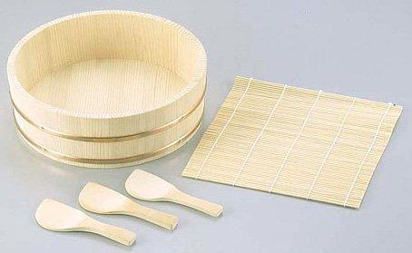 Mini Temaki Sushi Set 5pc. Rice Paddle, Sushi Mat & Bowl (Sushi Rice Bamboo Bowl compare prices)