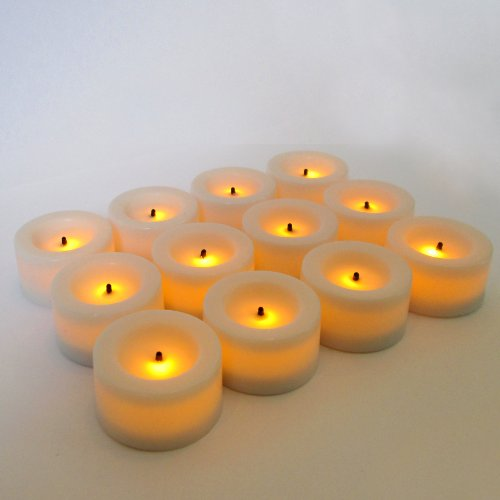 Candle Impressions set of 12 Flameless Mini Votives with Timer - Cream