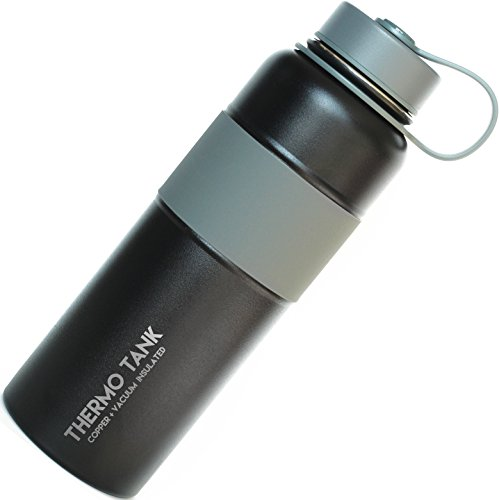 Thermo Tank Insulated Stainless Steel Water Bottle - Ice Cold 36 Hours! Vacuum + Copper Technology - SS Inner Lid, Silicone Grip - 40 Ounce (Black + Grey, 40oz) (Thermos Insulated Stainless Steel compare prices)