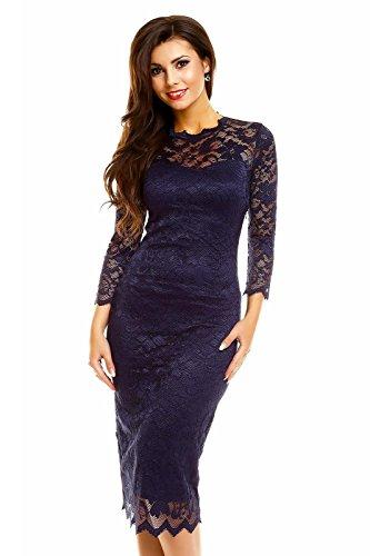 Fashion Damen Cocktailkleid Abendkleid Etuikleid aus Spitze Deluxe Look blau M