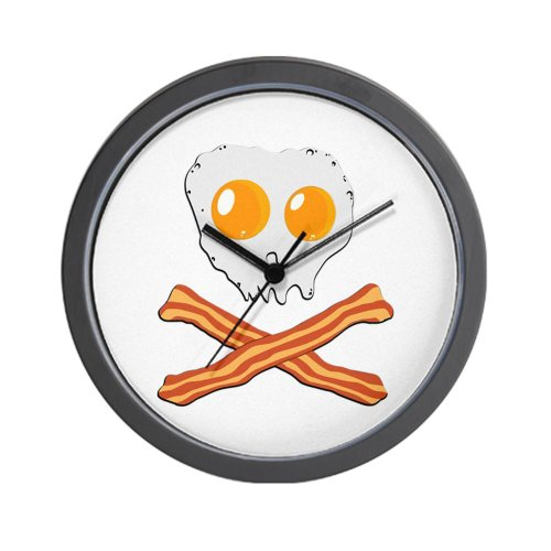 CafePress Wall Clock - Bacon & Eggs Pirate Wall Clock