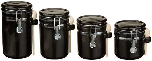 Anchor Home Collection 4-Piece Ceramic Canister Set With Clamp Top Lid And A Wood Spoon, Black