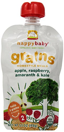 Happy Baby Stage 2 Organic Home-Style Meals, Apples, Raspberries, Amaranth & Kale, 3.5 Ounce (Pack of 16)
