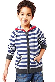 Pure Cotton Hooded Striped Knitted Top with Stay New&#8482;