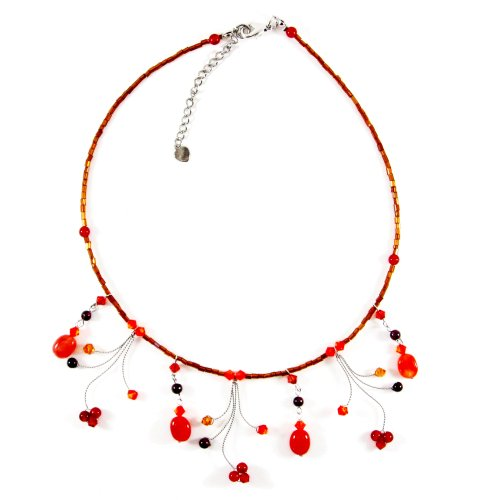 MGD, Orange Carnelian and Garnet Choker Necklace, 'Tender Heart'