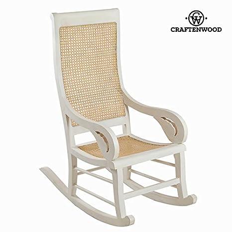 Sedia a dondolo di teak bianca by Craften Wood (1000026337)