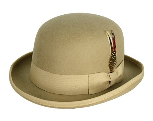 [Victorian Deep Crown Bowler Hat with Feather (XX-Large: 25 in. / 62 cm., Camel)] (Pimp Hat With Feather)