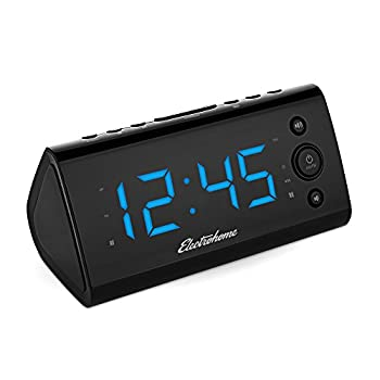 Electrohome Alarm Clock Radio with USB Charging for Smartphones & Tablets includes Dual Alarm, Battery Backup, Auto Time Set & 1.2