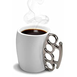 Fred and Friends Fisticup Mug features a set of brass knuckles as the handle