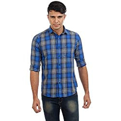 Sting Blue Checked Slim Fit Cotton Casual Shirt