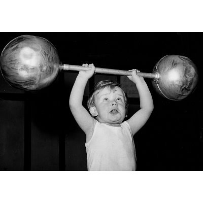 Child Lifting Weights Archival Photo Sports Poster Print