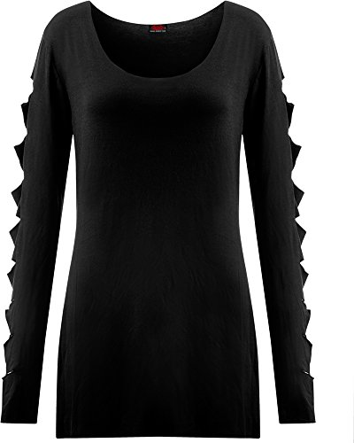 Spiral Slashed Sleeve Manica lunga donna nero M