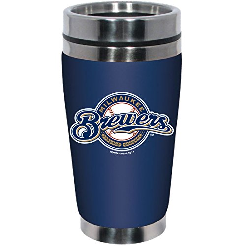 MLB Milwaukee Brewers Stainless Steel Travel Tumbler with Neoprene Wrap, 16-Ounce, Team Color