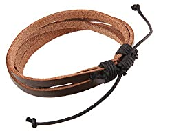 Leather Bracelet Stunning Brown Three Strap Thread Adjustable Size Wrist Band For Boys Men Girls Women Fashion Accessories Gift Jewelry by Tech Fashion-TF-371