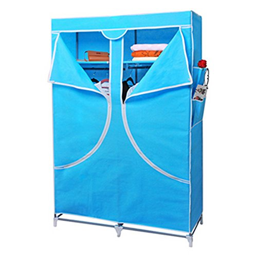 YQL The New Korean Version Of The Simple Cloth Reinforced Folding Cloth Wardrobe Closet Wardrobe Storage Closet Storager Garderobe Sky Blue simple fashion moistureproof sealing thick oxford fabric cloth wardrobe rustproof steel pipe closet 133d