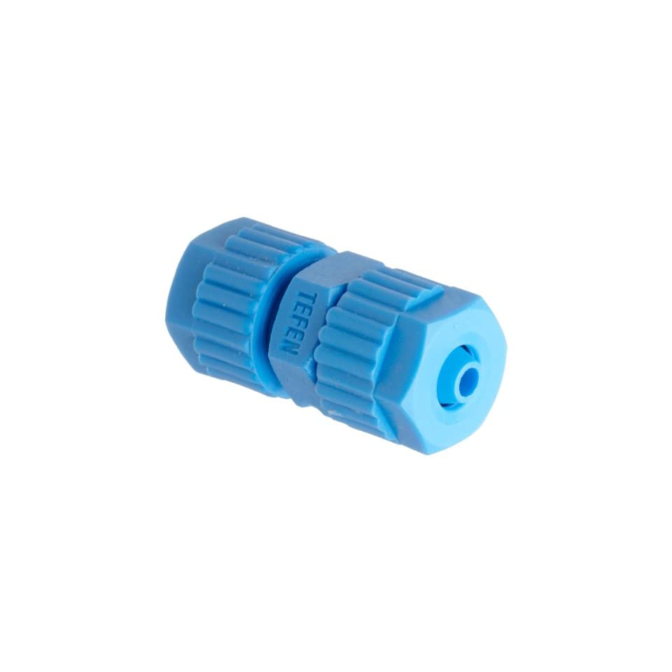 Tefen Fiberglass Polypropylene Compression Tube Fitting, Union, Blue, 12 mm x 8 mm Tube OD (Pack of 5)