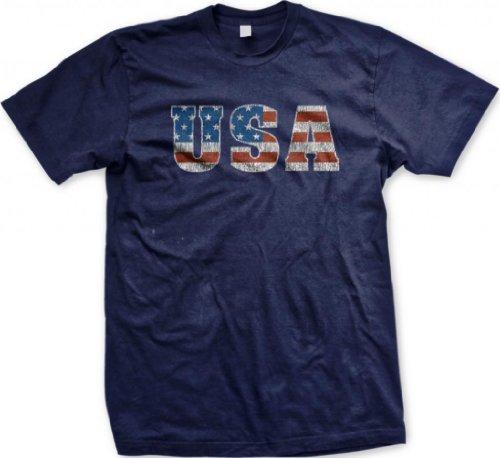 Usa Flag Font Men'S T-Shirt (Navy, 3X-Large)