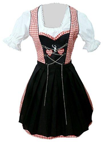 Di04 Mini Dirndl, 3 teiliges Trachtenkleid in rot weiß, Kleid mit Bluse und schwarzer Schürze, Rocklänge 47-56 cm, Gr. 38 thumbnail