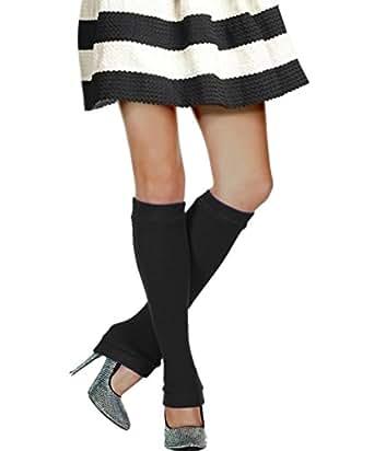 Acrylic Knit Knee-High Leg Warmer, Black