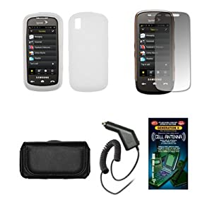 Samsung Instinct S30 Black Leather Carrying Pouch+Clear Silicone Skin Soft Case Cover+Premuim LCD Screen Protetor+Rapid Car Charger+Antenna Booster Combo For Samsung Instinct S30