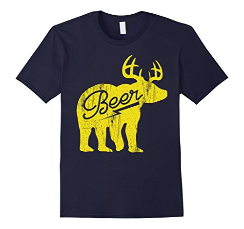 Men's Bear + Deer is BEER Vintage Style T-Shirt XL Navy (Beer Bear compare prices)